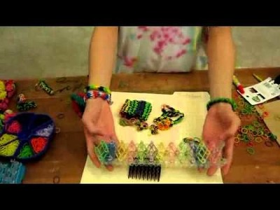Various rubber band crafts and bracelets using Rainbow Loom®