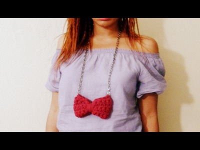 DIY Crochet Bow Necklace
