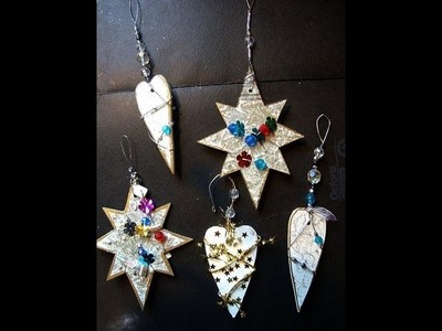 Glitzy Christmas ornaments from cereal box, recycle, reuse, repurpose, diy holiday ornament