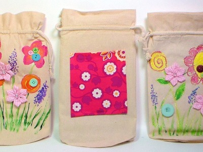 Painted and Embellished Canvas Bags {make this with the kids!}
