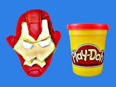 Play Doh Ironman Tutorial DisneyCarToys DIY Play Dough Iron Man Face Helmet  2D