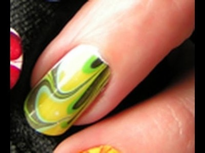 Water Marble 5 Colors Spring- Special Nail Art Tutorial Green easy step by step DIY