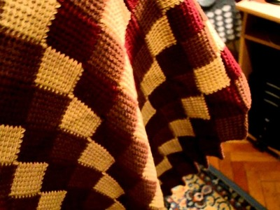 Entrelac. Afghan stitch crocheted blanket