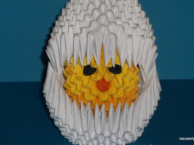 How to make 3D Origami Chicken in egg part1