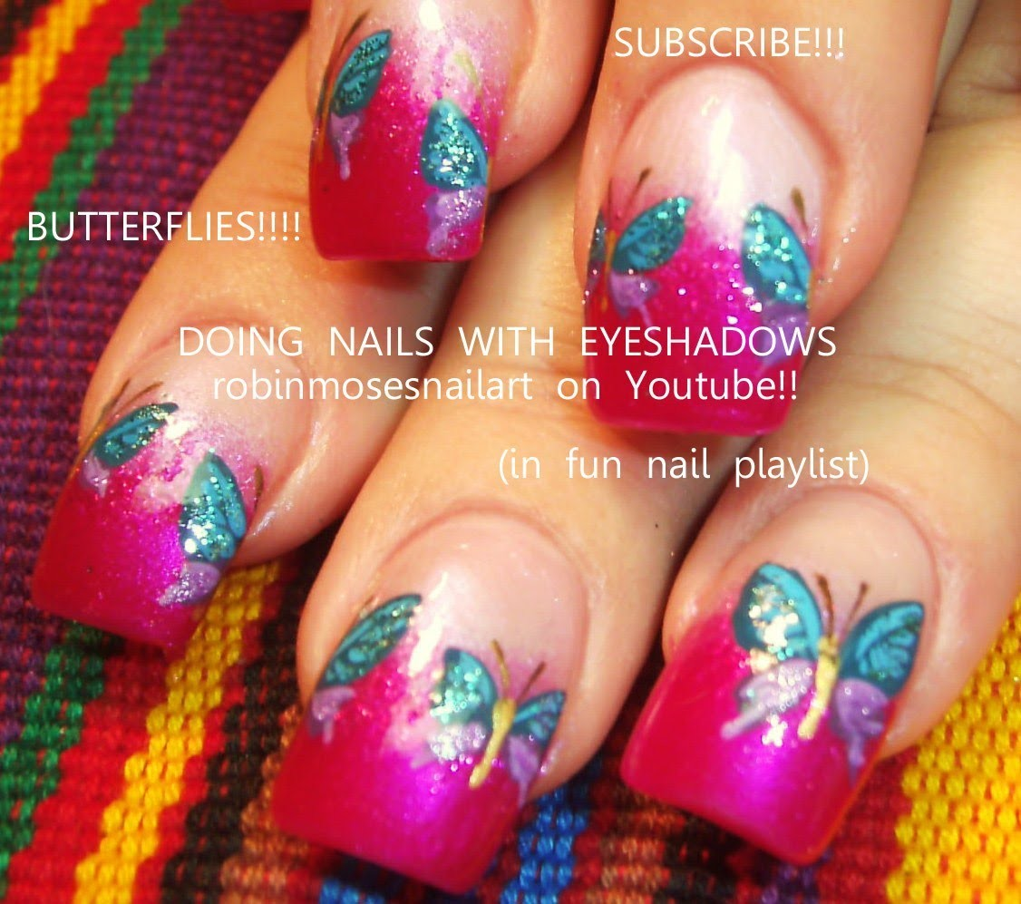 Nail Art Design | Easy DIY Butterfly Nail art On Pink Tips with Glitter