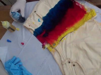 DIY Denim: Distressed, Studded, Bleached Shorts & Rainbow Tie-Dye Shorts Tutorial