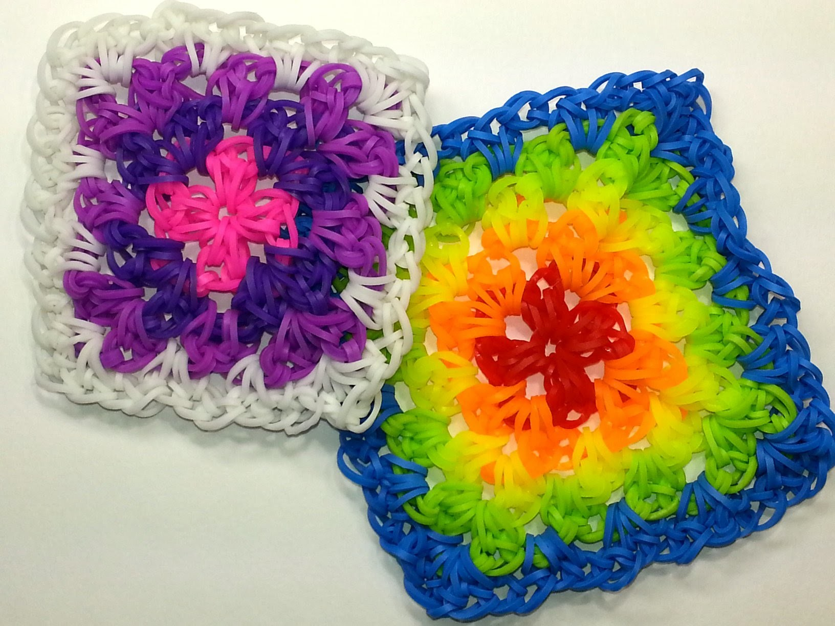 Granny Square Tutorial by feelinspiffy (HOOK ONLY) (Loom Bands)