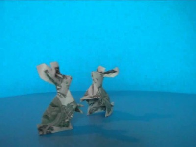 Origami money rabbits