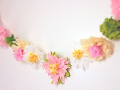 DIY: Paper Flower Garland | Cute & Happy Home Decor Ideas