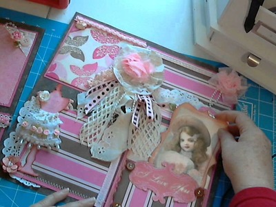 Scrapbookgiggles Shabby Chic Scrapbook Pages 2 page layout Girl Pages Pink