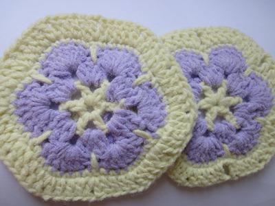 Африканский шестиугольный цветок Afghan hexagonal flower Crochet