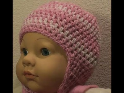 Baby Crochet Cap with Earflap Option Left Hand