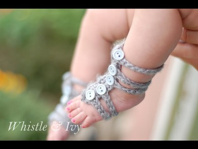 Baby Gladiator Barefoot Sandals Crochet Pattern