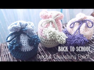 Back To School DIY ✂ Crochet Drawstring Pouch | enchantelle