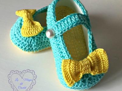Bailarinas a crochet para bebé de 3 a 6 meses