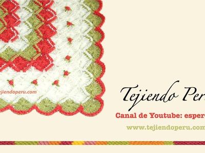 Cobija o mantita para bebés tejida en bavarian crochet con rosas rococó bordadas