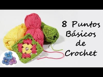 Como hacer 8 Puntos Basicos de Crochet Trapillo Curso de Crochet XXL Ganchillo Pintura Facil