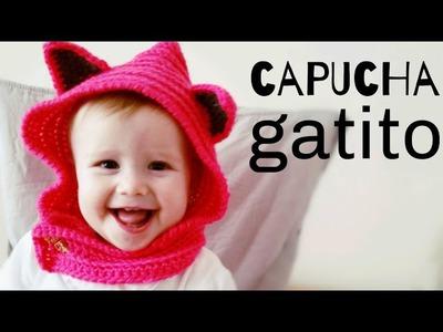 Cómo tejer una CAPUCHA con cuello a Crochet y orejas de GATO - TODAS LAS TALLAS