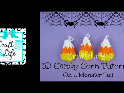 Craft Life 3D Mini Candy Corn Charm Tutorial on a Rainbow Loom Monster Tail ~ Halloween