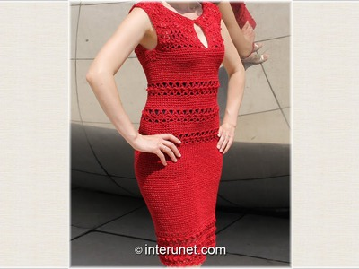 Crochet a women's pick-a-boo lace summer dress