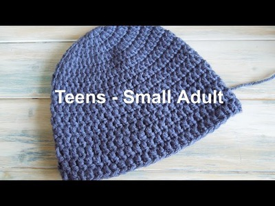 "(crochet) How To - Crochet a Simple Beanie for Teens - Small Ladies Size (20""-22"")"