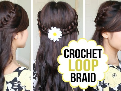 Crochet Loop Braid Hair Tutorial | Half Updo Prom Hairstyle