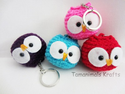 Crochet  owl ornament.Key chain tutorial