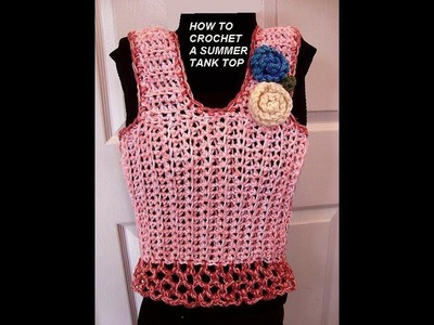 CROCHET PATTERN, PINK SUMMER TANK TOP, how to diy, make it any size, baby to plus size