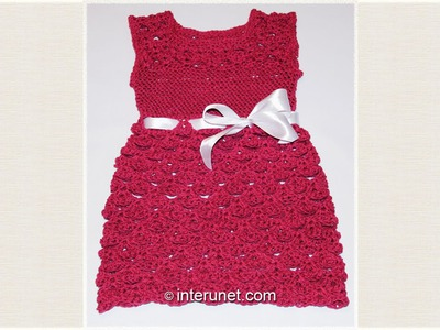 Crochet toddlers' dress using V stitch shell pattern
