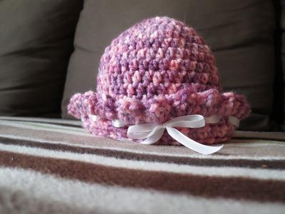 Crochet Tuto - Crochet Bonnet de bébé  كروشيه - قبعة لمولود جديد