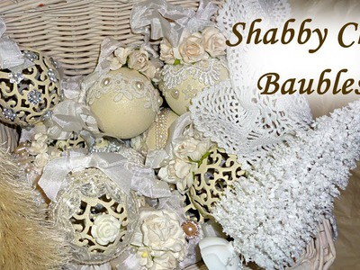 DIY Altered Shabby Chic. Vintage Christmas Baubles. Balls Tree Decoration