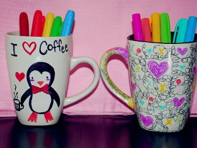 DIY Cup decoration with sharpies
