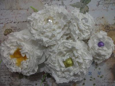 DIY: Flores de papel toalha. paper flowers craft, vintage paper roses