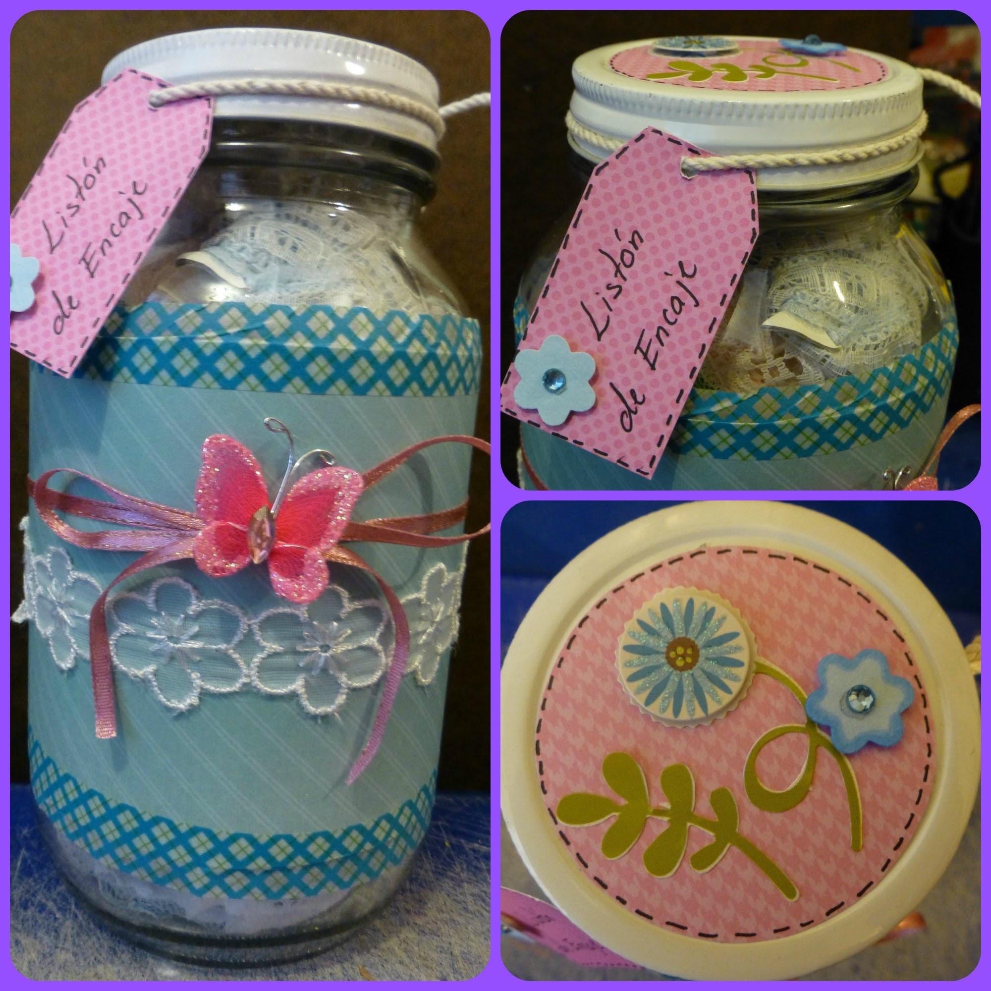 DIY: Frasco decorado (tipo scrapbook). Jar craft tutorial