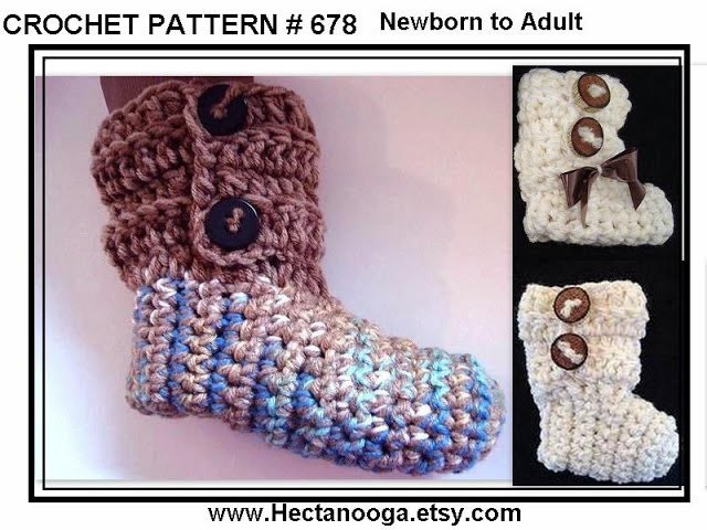 DIY How to crochet BUTTONED CUFF SLIPPERS OR BOOTIES