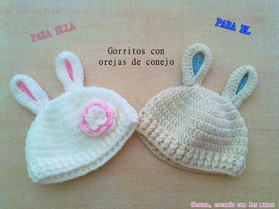 DIY Patron Gorro crochet ganchillo con orejas de conejo para bebe (1 de 2). English Subs Baby's hat