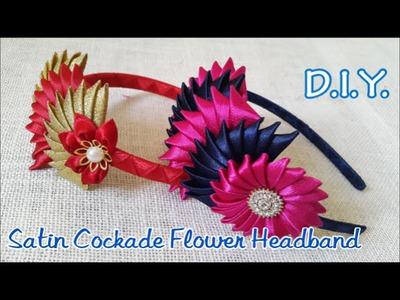 ❀❀❀ D.I.Y. Satin Cockade Flower Headband - Tutorial ❀❀❀