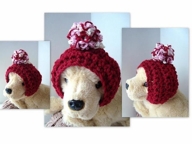 DOGGIE HAT, How to crochet a dog hoodie hat, headband, pull on hat