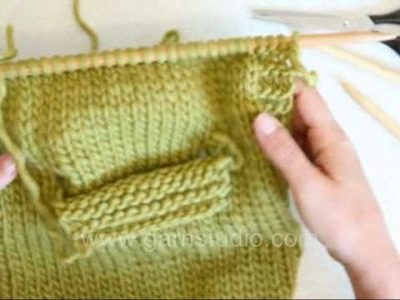 DROPS Knitting Tutorial: How to knit a pocket - on inside
