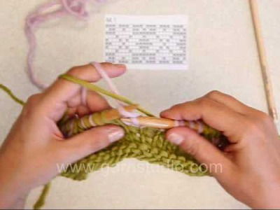 DROPS Knitting Tutorial: How to knit Fair Isle - 2 color knitting - continental