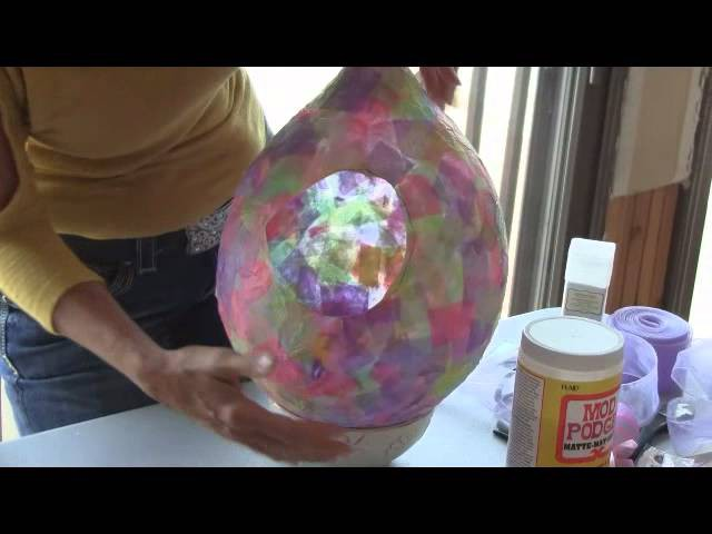 Easter Craft:  Easter Egg Decoupage Basket. Turn a Balloon Into an Easter Basket.
