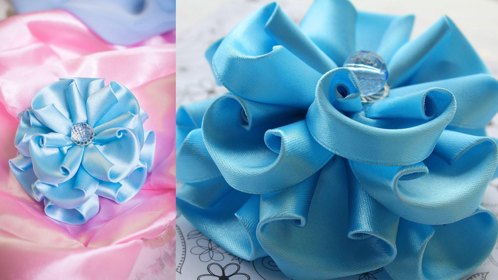 Голубой Цветок Канзаши. Пышный бант. МК. DIY. kanzashi tutorial