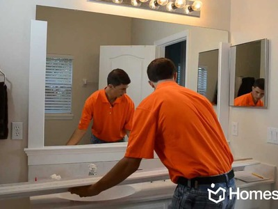 "Homes.com DIY Experts Share How-to Frame a ""Builder Grade"" Mirror"