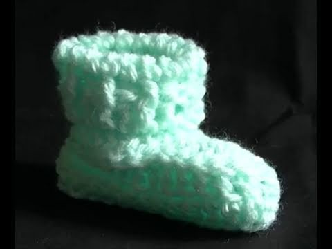 How to Crochet a Baby Bootie Part 2 of 2 - Cats One Piece Wonder Baby Booties