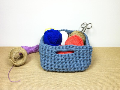How to Crochet a T-shirt Yarn Basket (DIY Tutorial)