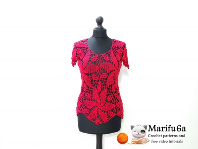 How to crochet red blouse top free pattern tutorial by marifu6a