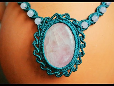 How to Make a Macrame Necklace with a Gemstone - Craft Tutorial [DIY]