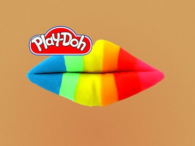 How to make Play Doh Rainbow Lip Art Play-Doh Craft N Toys