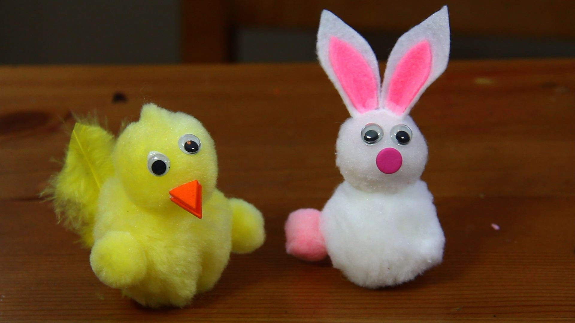 How to Make Pom Pom Easter Bunnies and Chicks Craft