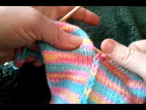 Knitting Strips Together -- Patches Baby Sweater 001